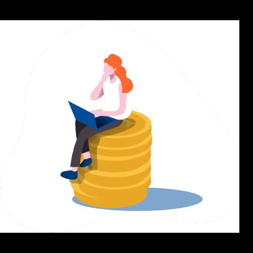 Frau sitzt auf münzen
