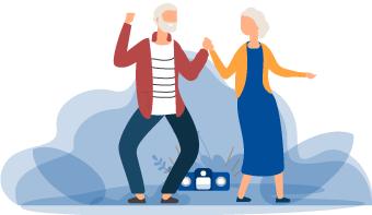 Altes Ehepaar freut sich