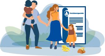 Familie mit Versicherungsschein