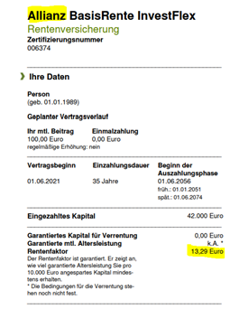 Produktinformationsblatt der Allianz BasisRente InvestFlex