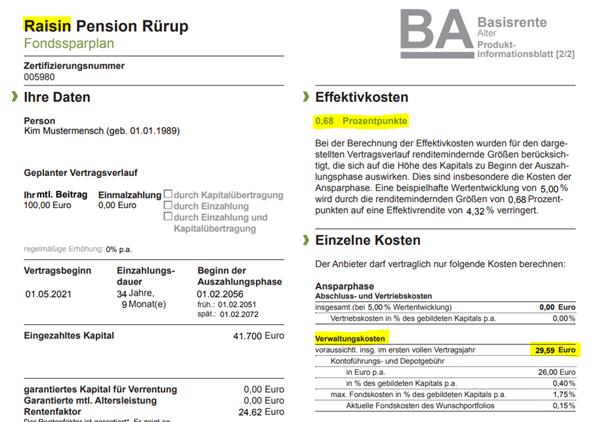 Auszug Produktinformationsblatt zu den Vertragskosten zu Raisin Pension Rürup